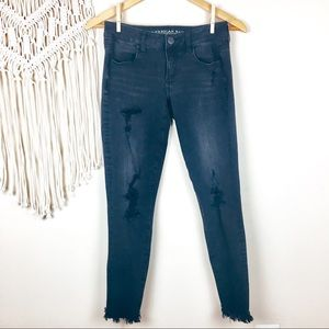 American Eagle •  Distressed Super Low Jeggings